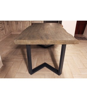 Piano tavolo in legno di cedro e gambe in ferro lavorato