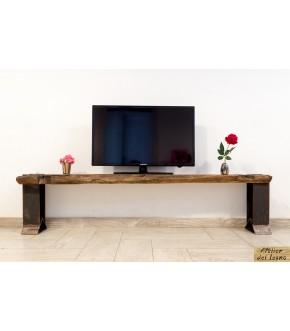 Base per TV in robusto legno di castagno