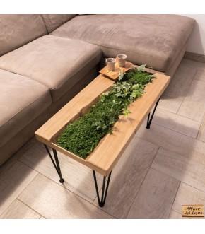 Tavolino da caffè in legno castagno con prato