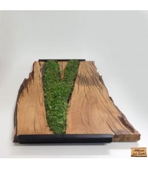 Vassoio artigianale in legno d'ulivo e ferro, con vero prato
