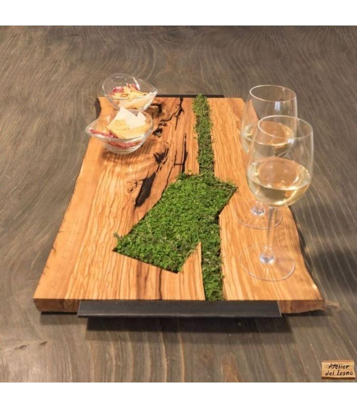 Vassoio in legno Natural Edge, con vero prato